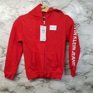 Calvin Klein Jeans Boys Sweater Red Sz 6 New